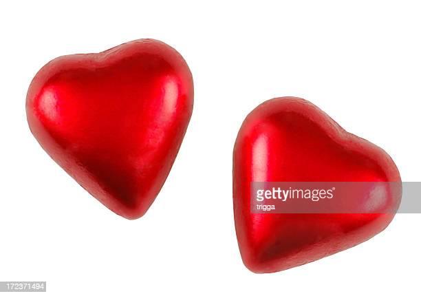 Dois corações de chocolate