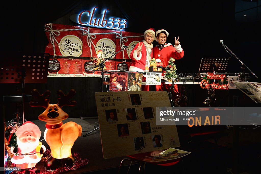Two Christmas DJ's perform in the Tokyo Tower ahead of the FIFA Club World Cup on December 10, 2012 in Tokyo, Japan.