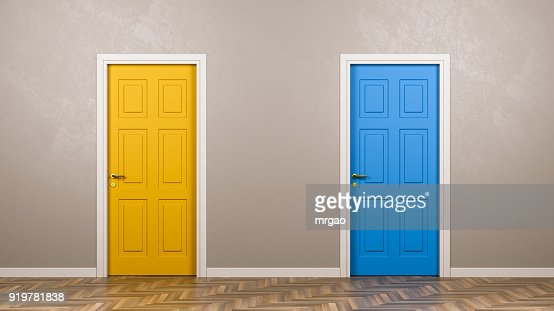 Two Closed Doors in Front in the Room : Stock Photo