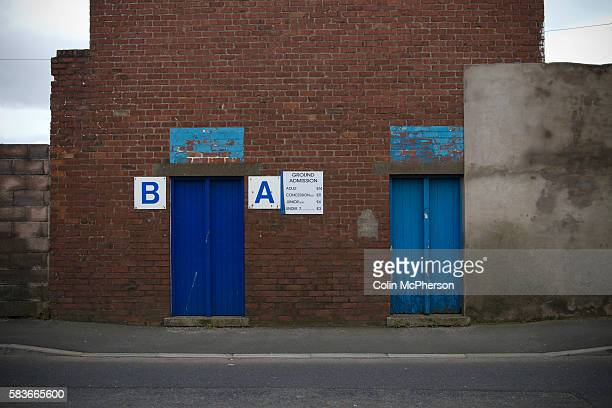 Two closed turnstile doors at Barrow AFC's Furness Building Society Stadium prior to the delayed kickoff of the Barrow v Newport County Conference...