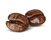 Two coffee beans isolated on white, path