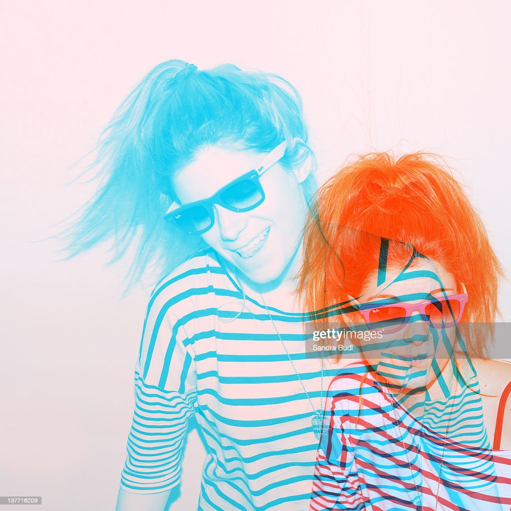 Two color double girl portrait : Stock Photo