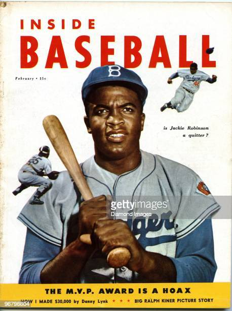Two color images of Jackie Robinson of the Brooklyn Dodgers graces the front cover of Inside Baseball magazine in February 1953 published by Weider...