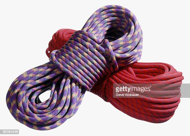 Two colorful bundles of climbing rope