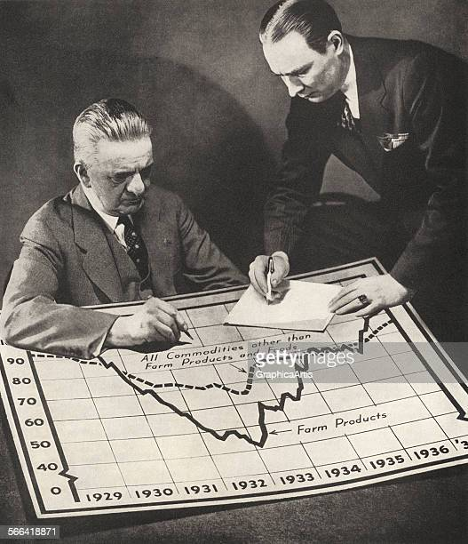 Two commodities traders consider a graph of futures productivity screen print from a photograph 1937