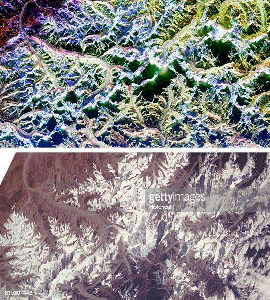 Two comparison radar images of Mount Everest and its surroundings along the border of Nepal and Tibet The top image which is a radar image was...