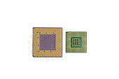 Two Computer Processor Chips Closeup Isolated On White Background