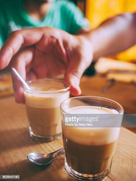 Two cortado coffees