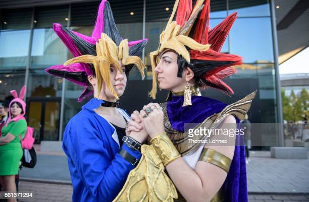 Two cosplayer pose as 'Yugioh' at the 2017 Frankfurt Book Fair on October 14 2017 in Frankfurt am Main Germany The 11th German Cosplay Championship...