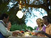 Two couples dining in yard at dusk, side view