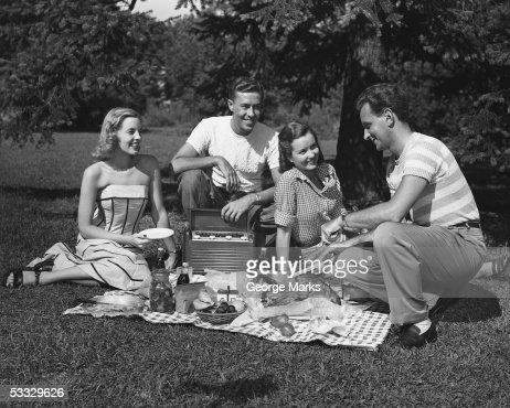 Two couples having a picnic : Stock Photo