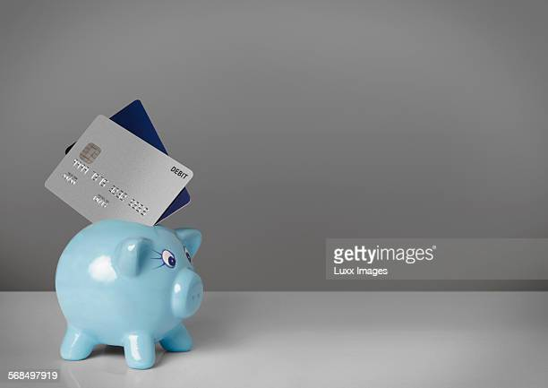Two credit cards stuck in piggy bank