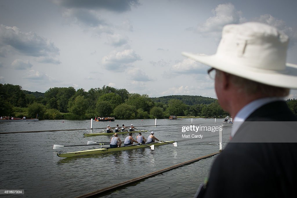 Two crews compete in a race at the Henley Royal Regatta on July 2, 2014 in Henley-on-Thames, England. Opening today and celebrating its 175th year, the Henley Royal Regatta is regarded as part of the English social season and is held annually over five days on the River Thames. Thousands of rowing fans are expected to come to watch races which are head-to-head knock out competitions, raced over a course of 1 mile, 550 yards (2,112 m) which regularly attracts international crews to race.