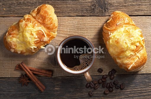 Two croissants and coffee