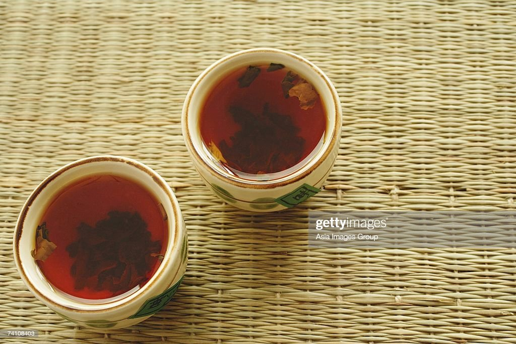 Two cups of Chinese Tea, high angle view : Stock Photo