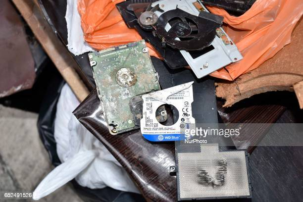Two damaged laptops and one desktop PC were discarded in a pile of garbage in front of the North Korean Embassy on March 12 2017 in Kuala Lumpur...