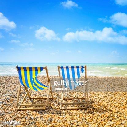Two Deckchair in Brighton Beach at Summer