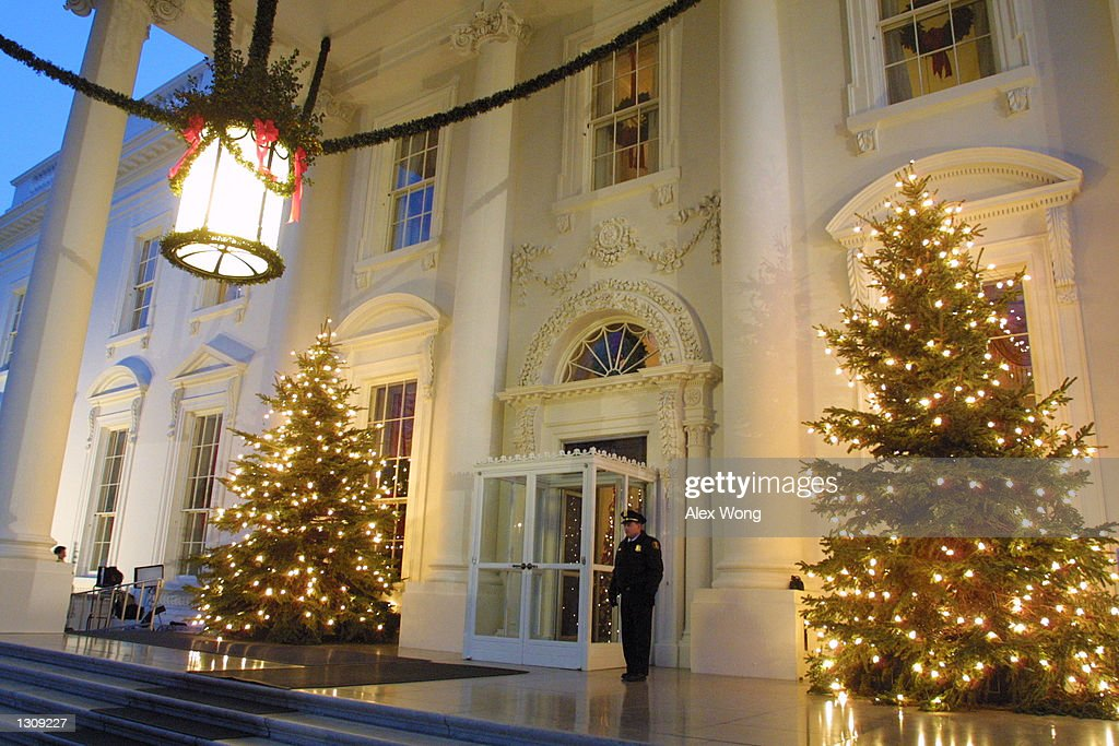 Two decorated Christmas trees stand at the North Portico of the White House December 4 2000 in Washington First Lady Hillary Rodham Clinton announced...