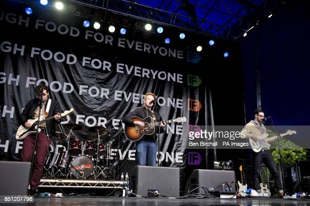 Two Door Cinema Club perform onstage at Belfast Botanic Gardens where the Big IF Belfast concert is taking place ahead of the G8 Summit in Northern...