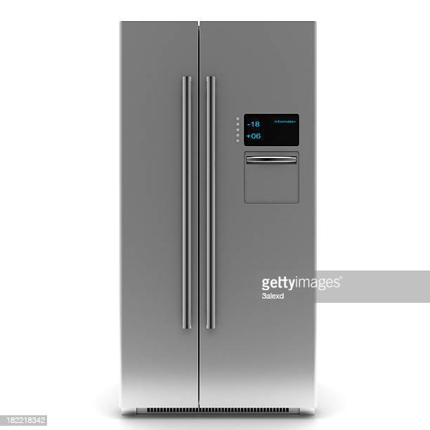 A two door silver stylish digital refrigerator