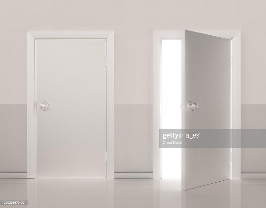 Two doors side by side, one door open (Digital)
