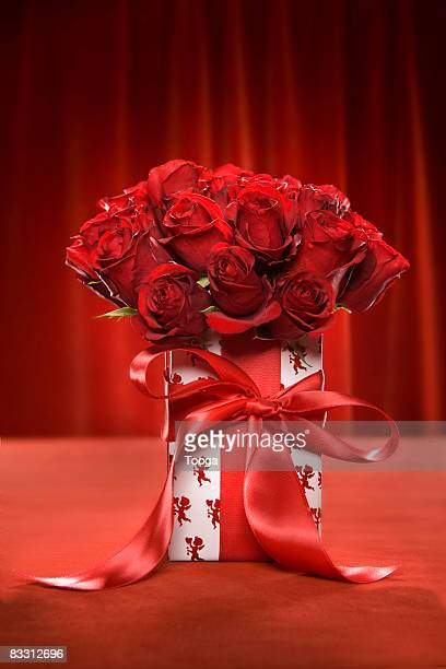 Two dozen red roses in gift box