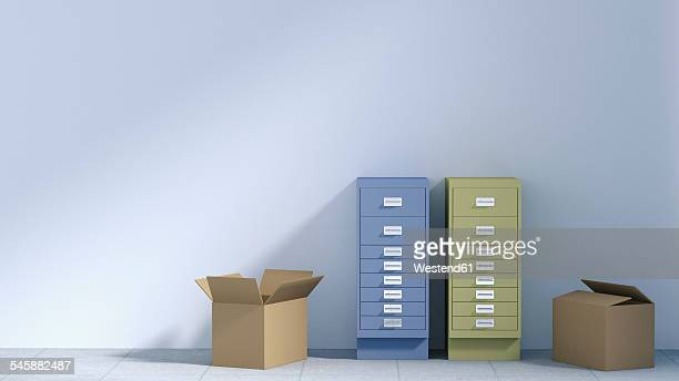 Two drawer cabinets and two cardboard boxes in an empty office, 3D Rendering