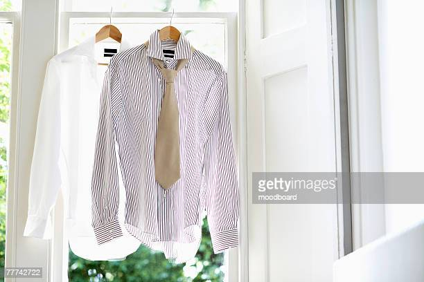 Two Dress Shirts on Hangers