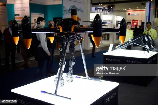 Two drones for farmers are presented at the CeBIT 2017 Technology Trade Fair on March 20 2017 in Hanover Germany The 2017 CeBIT will run from March...