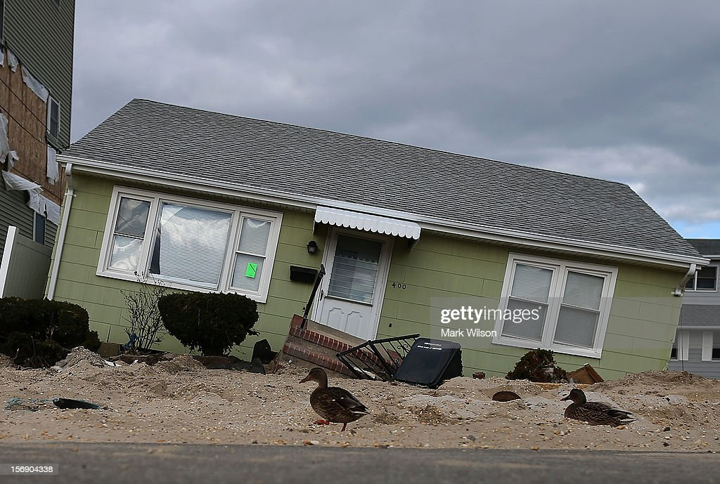 Two Ducks stand in front of a home damaged by Superstorm Sandy, on November 24, 2012 in Ortley Beach, New Jersey. New Jersey Gov. Christie estimated that Superstorm Sandy will cost New Jersey $29.4 billion in damage and economic losses.