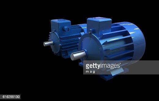 Dos motores eléctricos : Foto de stock