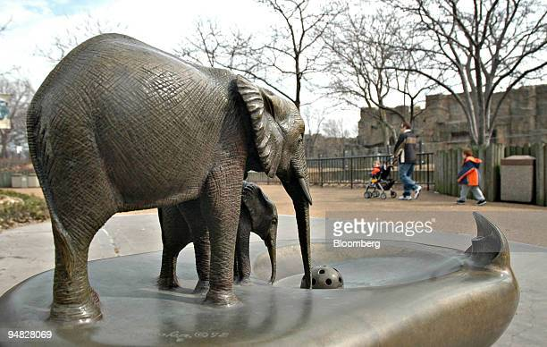 Two elephant statues are pictured near the closed pachyderm habitat at the Lincoln Park Zoo in Chicago Illinois Wednesday March 8 2006