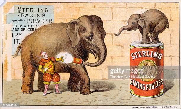 Two Elephants in circusthemed advertisement for baking powder undated Lithograph tradecard by Donaldson Brothers NY
