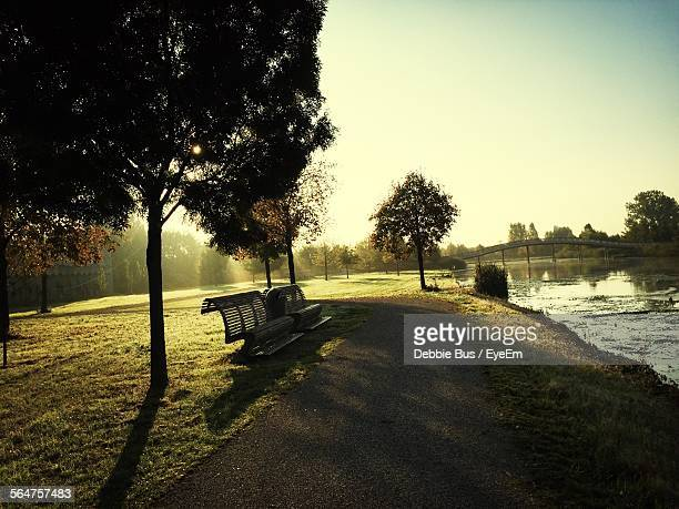 Two Empty Benches In Park