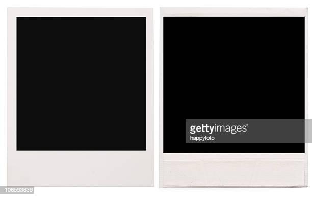 Two empty Polaroid frames on a white background
