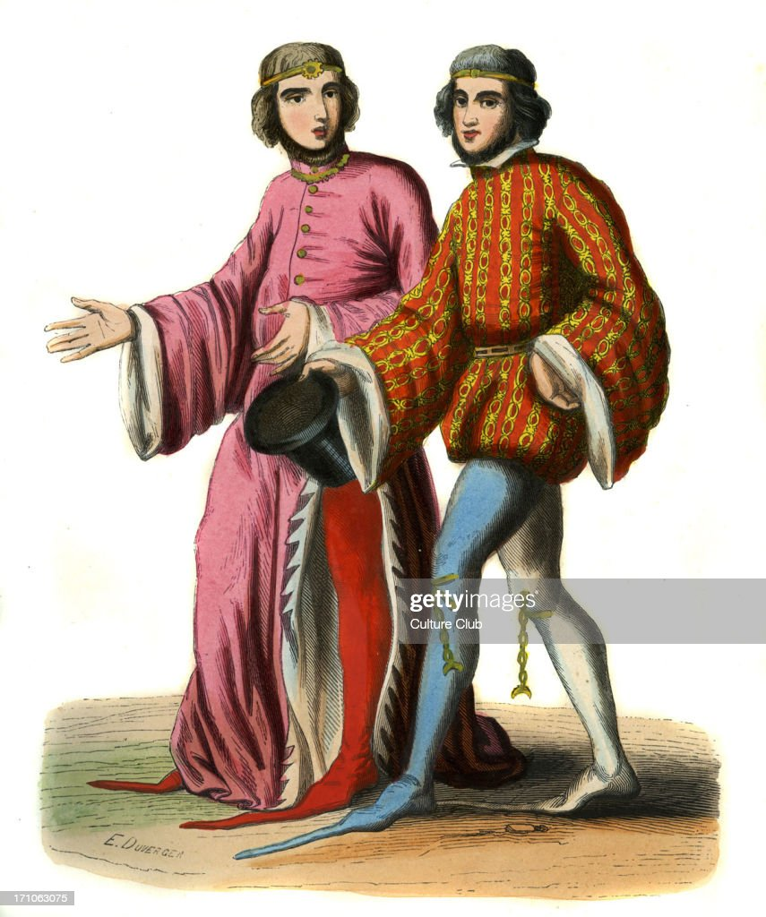 Two English courtiers of Richard II 14th century They wear fashionable pointed shoes one of the curiters has two different coloured shoes and chains...