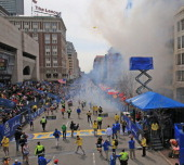 Two explosions went off near the finish line of the 117th Boston Marathon on April 15 2013