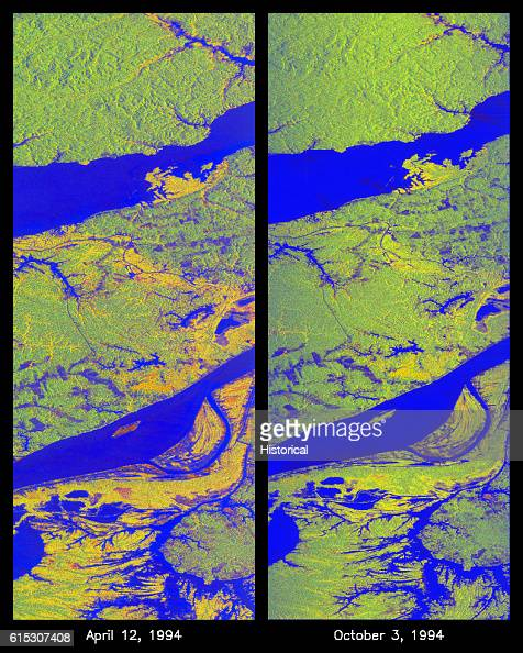Two false color radar images of the Manaus region of Brazil taken from the Spaceborne Imaging RadarC and Xband Synthetic Aperture Radar aboard Space...