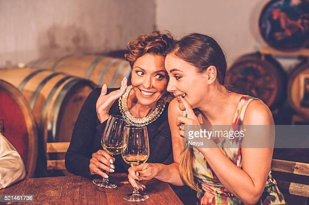 Deux amis de femme tenant à vin dans la cave à vin
