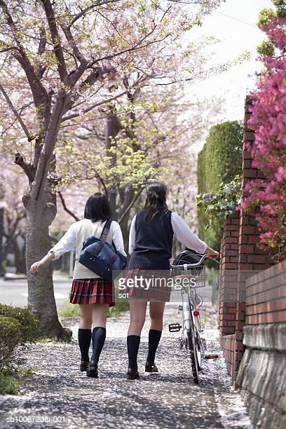 Two female high school students (17-18) walking on sidewalk, rear view