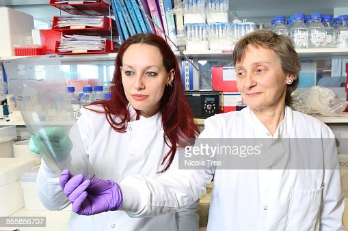 Two female scientists analysing tests in the lab