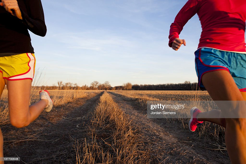 Two females jogging : Stock Photo