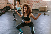 Young women exercising with barbell in fitness class. Two females workout in gym with barbell.