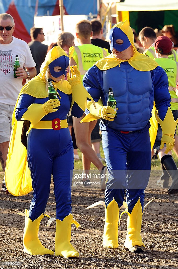 Two festival goers dressed as Bananaman during Rewind 80s Festival 2013 at Scone Palace on July 26, 2013 in Perth, Scotland.