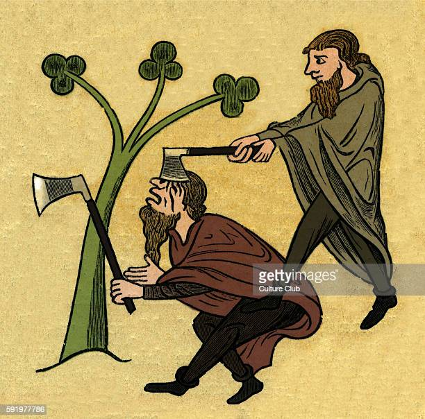 Two fighting Irishmen with axes one hitting another in the head Illustration after the Roy manuscript 13th century