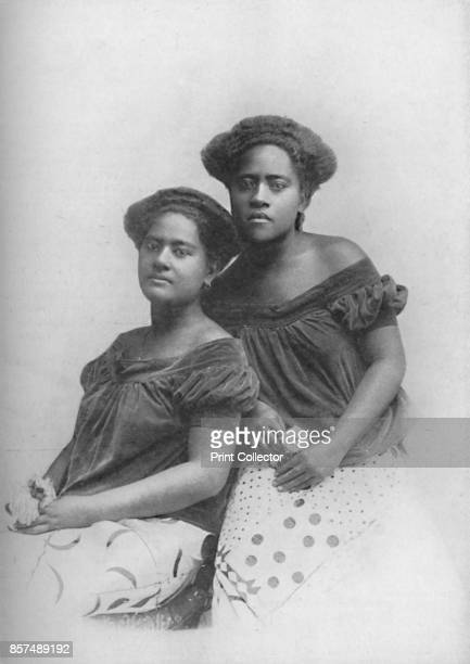 Two Fijian princesses with the hair dressed in European style 1902 From The Living Races of Mankind Vol I [Hutchinson Co London 1902] Artist Unknown
