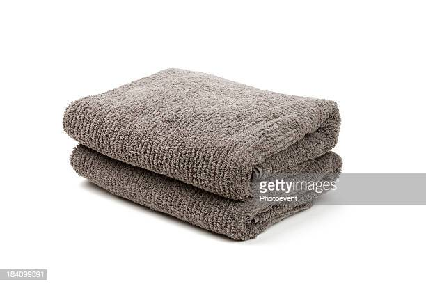 Two folded gray towels stacked together