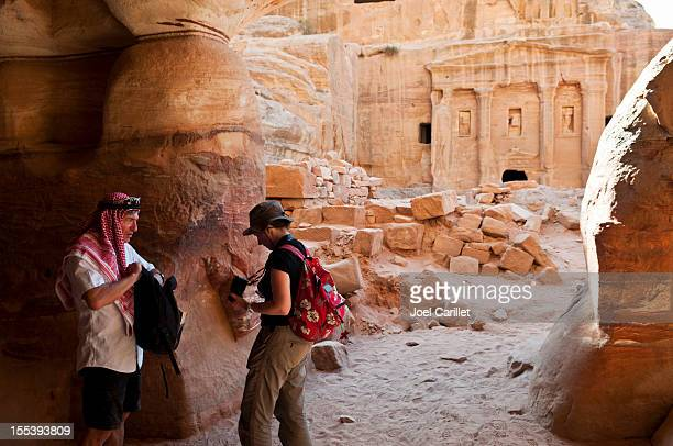 Tourists in the Middle East in Petra, Jordan