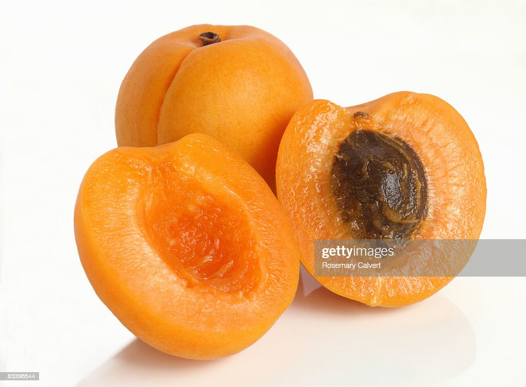 Two fresh apricots, one cut in half. : Stock Photo