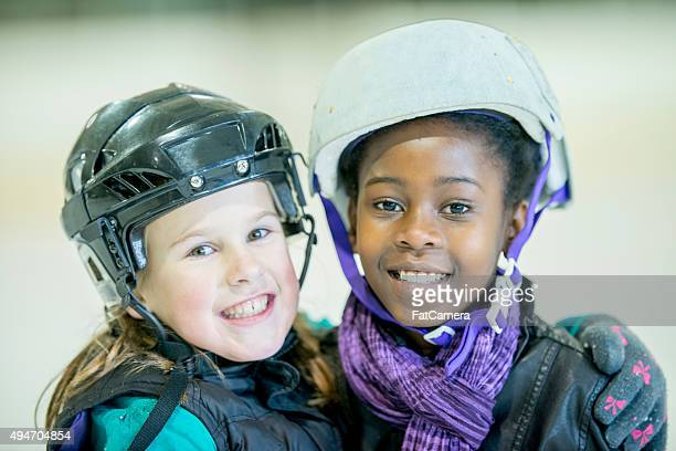 Two Friends at the Skating Rink Together
